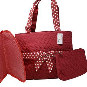 LAR LAR Quilted Red w/Polka Dot Bow Diaper Bag NEW